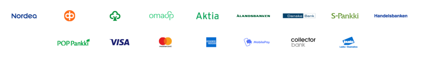 Doorien maksutavat – Pankkien logot